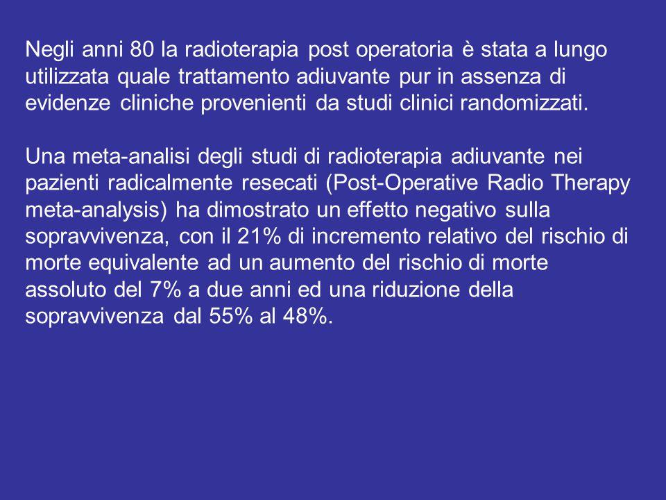 Negli anni 80 la radioterapia post operatoria è stata a lungo utilizzata quale trattamento adiuvante pur in assenza di evidenze cliniche provenienti d