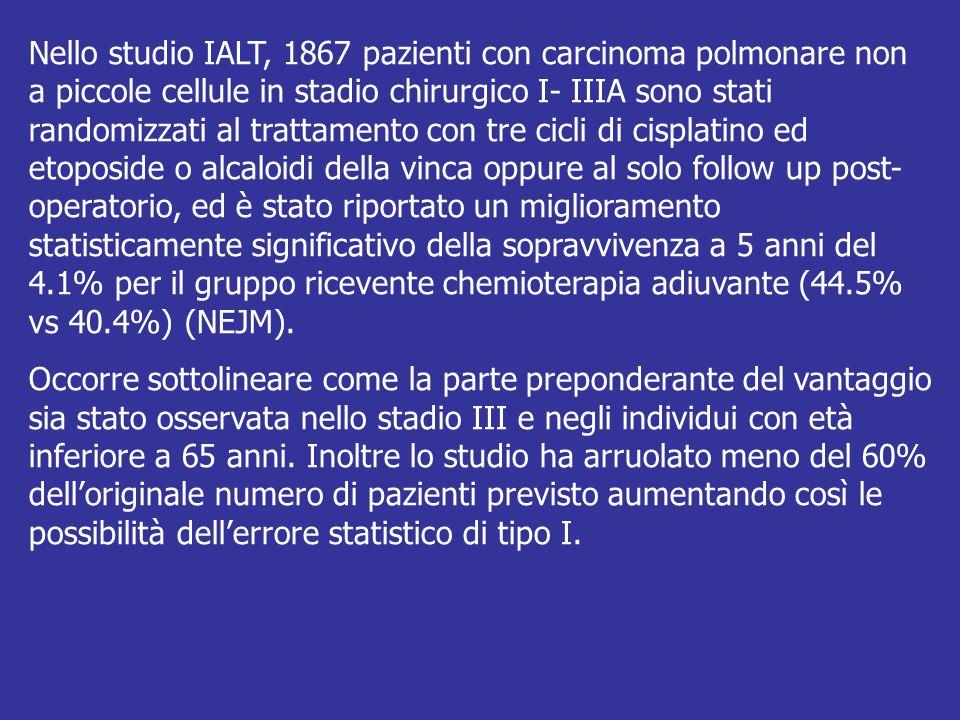 Nello studio IALT, 1867 pazienti con carcinoma polmonare non a piccole cellule in stadio chirurgico I- IIIA sono stati randomizzati al trattamento con