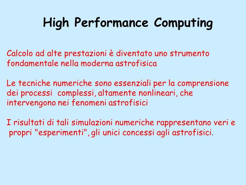 High Performance Computing Calcolo ad alte prestazioni è diventato uno strumento fondamentale nella moderna astrofisica Le tecniche numeriche sono essenziali per la comprensione dei processi complessi, altamente nonlineari, che intervengono nei fenomeni astrofisici I risultati di tali simulazioni numeriche rappresentano veri e propri esperimenti , gli unici concessi agli astrofisici.