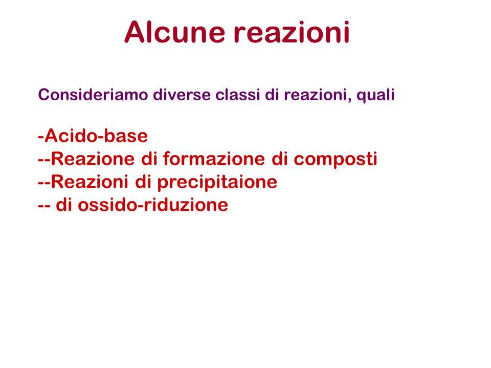 Alcune reazioni Consideriamo diverse classi di reazioni, quali -Acido-base --Reazione di formazione di composti --Reazioni di precipitaione -- di ossido-riduzione