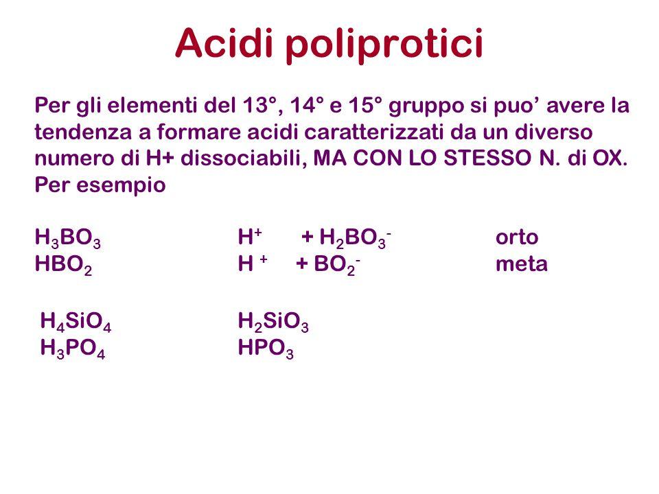 Acidi poliprotici H 4 SiO 4 H 2 SiO 3 H 3 PO 4 HPO 3 Per gli elementi del 13°, 14° e 15° gruppo si puo' avere la tendenza a formare acidi caratterizzati da un diverso numero di H+ dissociabili, MA CON LO STESSO N.