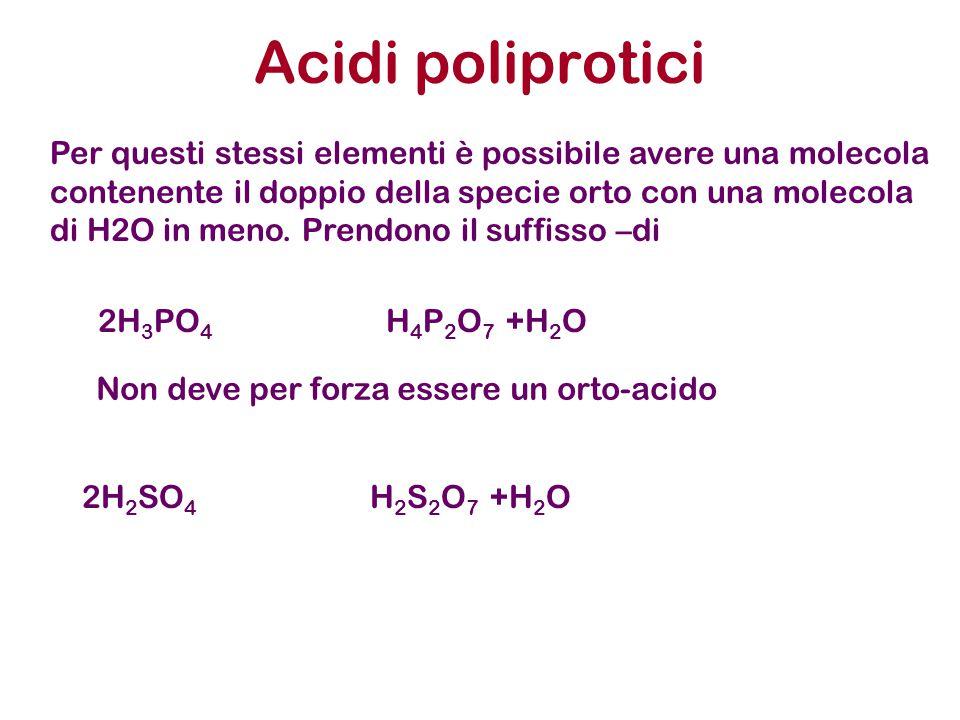 Acidi poliprotici 2H 3 PO 4 H 4 P 2 O 7 +H 2 O Per questi stessi elementi è possibile avere una molecola contenente il doppio della specie orto con una molecola di H2O in meno.