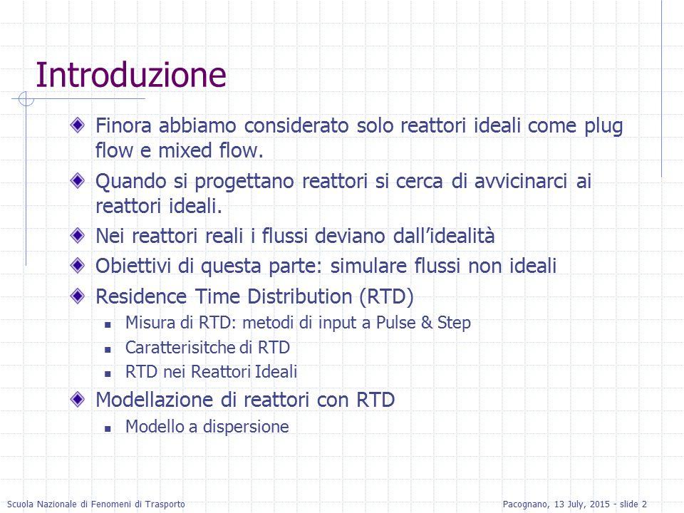 Scuola Nazionale di Fenomeni di TrasportoPacognano, 13 July, 2015 - slide 33 RTD per CSTR Il bilancio di materia per un tracciante inerte iniettato con un impulso: Separando le variabili ed integrando: La RTD è calcolata da C: