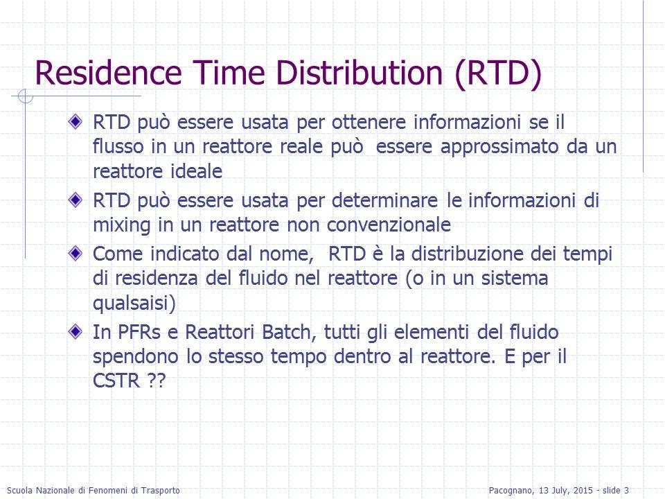 Scuola Nazionale di Fenomeni di TrasportoPacognano, 13 July, 2015 - slide 3 Residence Time Distribution (RTD) RTD può essere usata per ottenere inform