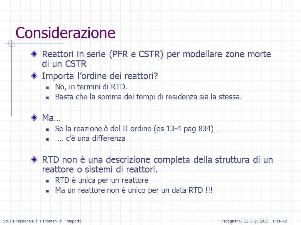 Scuola Nazionale di Fenomeni di TrasportoPacognano, 13 July, 2015 - slide 42 Considerazione Reattori in serie (PFR e CSTR) per modellare zone morte di