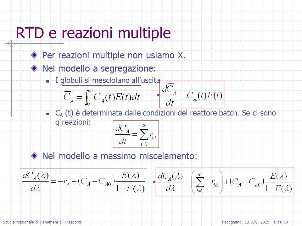 Scuola Nazionale di Fenomeni di TrasportoPacognano, 13 July, 2015 - slide 58 RTD e reazioni multiple Per reazioni multiple non usiamo X. Nel modello a