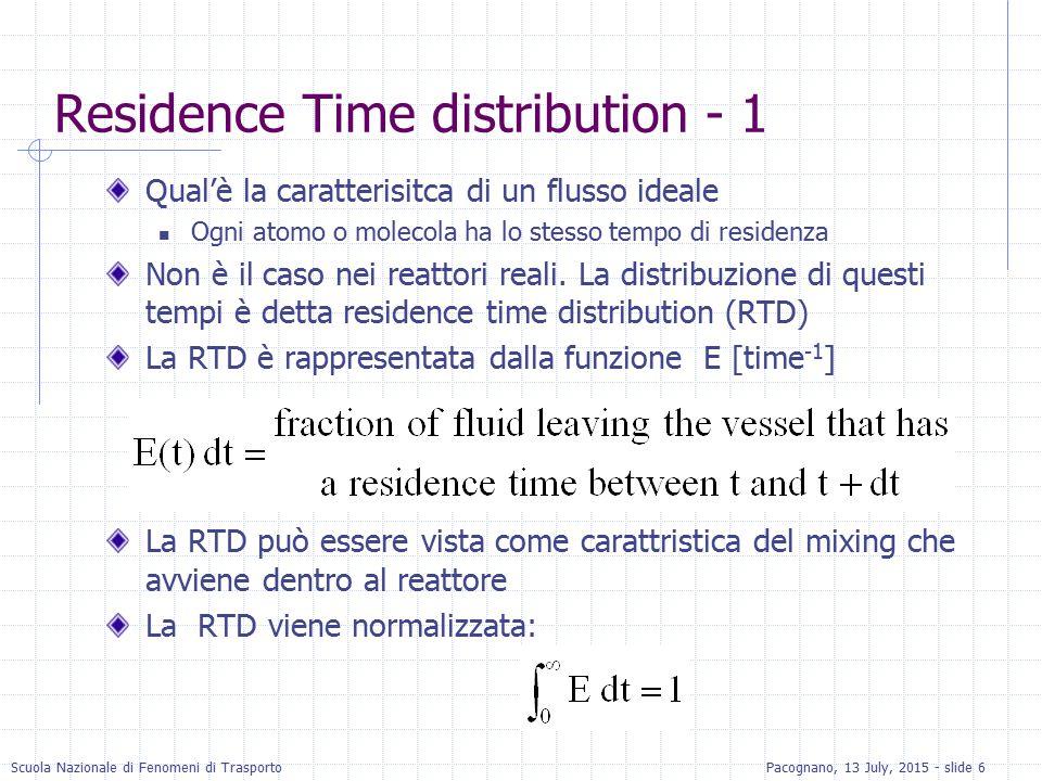 Scuola Nazionale di Fenomeni di TrasportoPacognano, 13 July, 2015 - slide 17 RTD con Pulse Input (cont.) Se Non è noto precisamente, può essere calcolato come segue:  Si può definirela funzione RTD, E(t) come: La frazione di materiale che lascia il reattore che è rimasta nel reattore per tempi tra t 1 e t 2 è