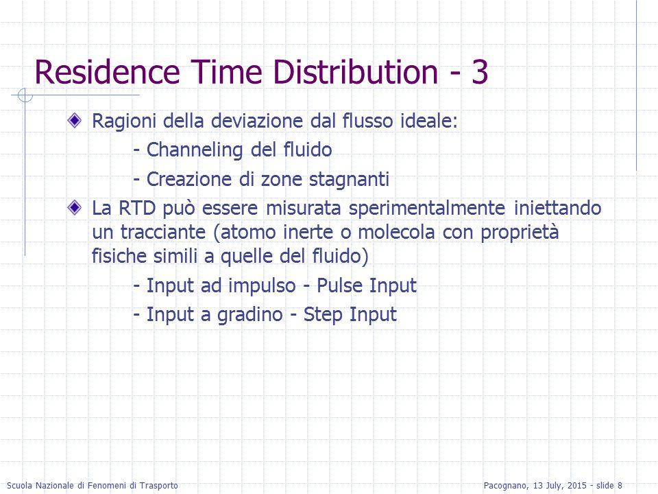 Scuola Nazionale di Fenomeni di TrasportoPacognano, 13 July, 2015 - slide 19 RTD con Step Input (Cont.) Dividendo l'equazione di sopra per Co, si ottiene la curva F(t) La curva E(t) si ottiene differenziando F(t) rispetto al t