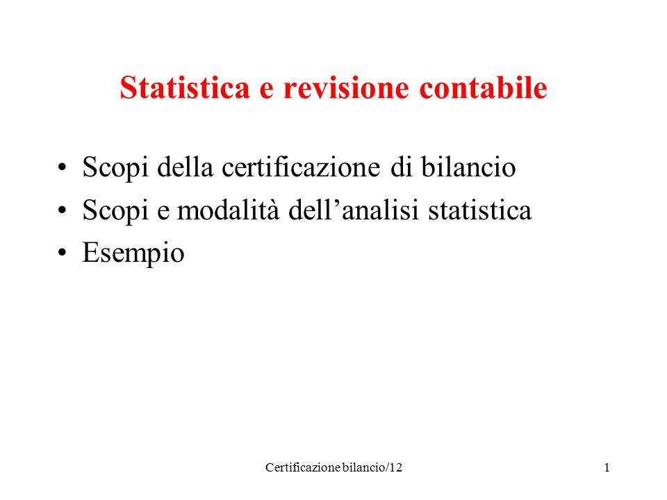 Certificazione bilancio/121 Statistica e revisione contabile Scopi della certificazione di bilancio Scopi e modalità dell'analisi statistica Esempio