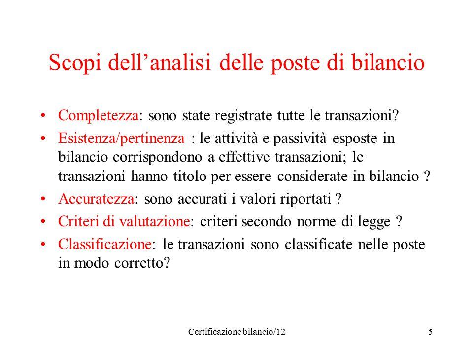 Certificazione bilancio/125 Scopi dell'analisi delle poste di bilancio Completezza: sono state registrate tutte le transazioni? Esistenza/pertinenza :