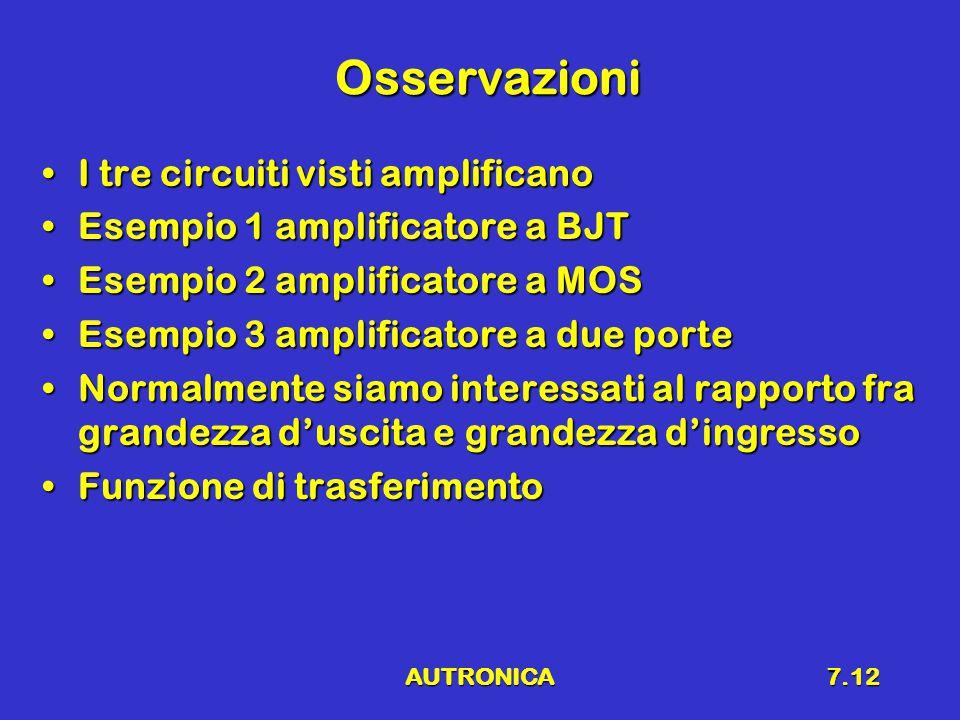 AUTRONICA7.12 Osservazioni I tre circuiti visti amplificanoI tre circuiti visti amplificano Esempio 1 amplificatore a BJTEsempio 1 amplificatore a BJT Esempio 2 amplificatore a MOSEsempio 2 amplificatore a MOS Esempio 3 amplificatore a due porteEsempio 3 amplificatore a due porte Normalmente siamo interessati al rapporto fra grandezza d'uscita e grandezza d'ingressoNormalmente siamo interessati al rapporto fra grandezza d'uscita e grandezza d'ingresso Funzione di trasferimentoFunzione di trasferimento