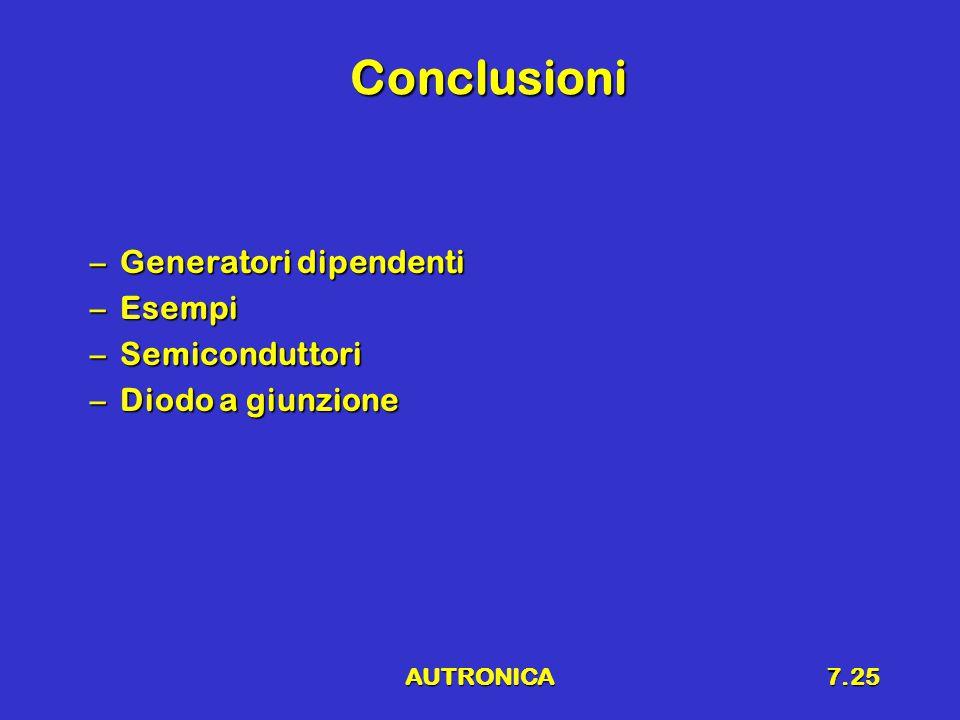 AUTRONICA7.25 Conclusioni –Generatori dipendenti –Esempi –Semiconduttori –Diodo a giunzione