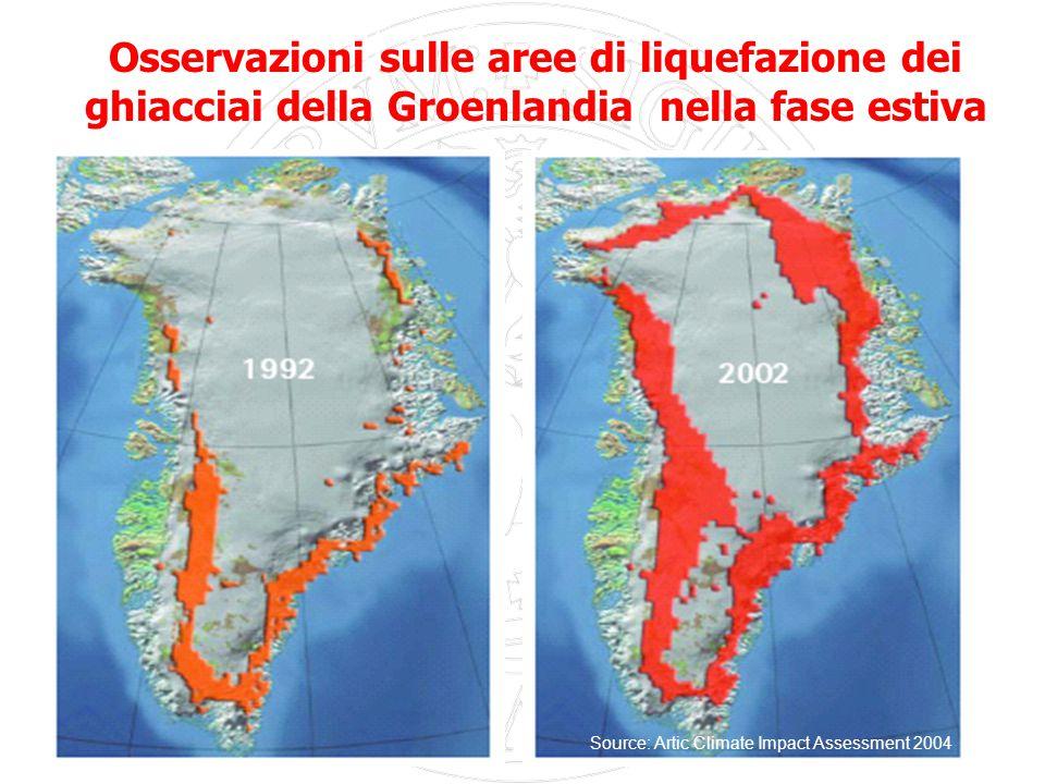33 Extent of ice melt in Greenland,1992 and 2002 Source: Artic Climate Impact Assessment 2004 Osservazioni sulle aree di liquefazione dei ghiacciai della Groenlandia nella fase estiva