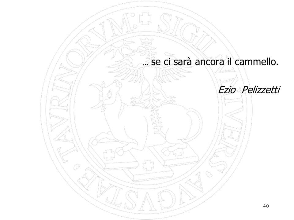 46 … se ci sarà ancora il cammello. Ezio Pelizzetti