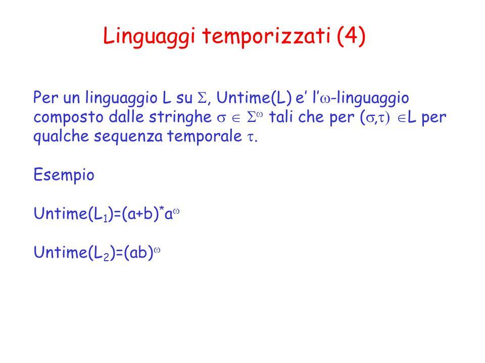 Linguaggi temporizzati (4) Per un linguaggio L su , Untime(L) e' l'  -linguaggio composto dalle stringhe    tali che per ( ,  L per qualche sequenza temporale .