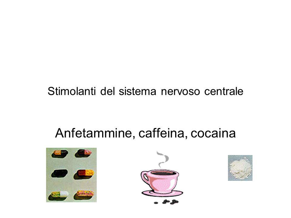 Stimolanti del sistema nervoso centrale Anfetammine, caffeina, cocaina