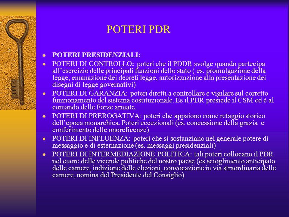 POTERI PDR  POTERI PRESIDENZIALI:  POTERI DI CONTROLLO: poteri che il PDDR svolge quando partecipa all'esercizio delle principali funzioni dello sta