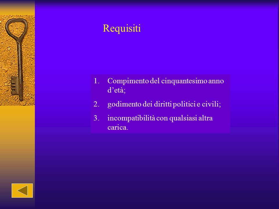 Requisiti 1.Compimento del cinquantesimo anno d'età; 2.godimento dei diritti politici e civili; 3.incompatibilità con qualsiasi altra carica.