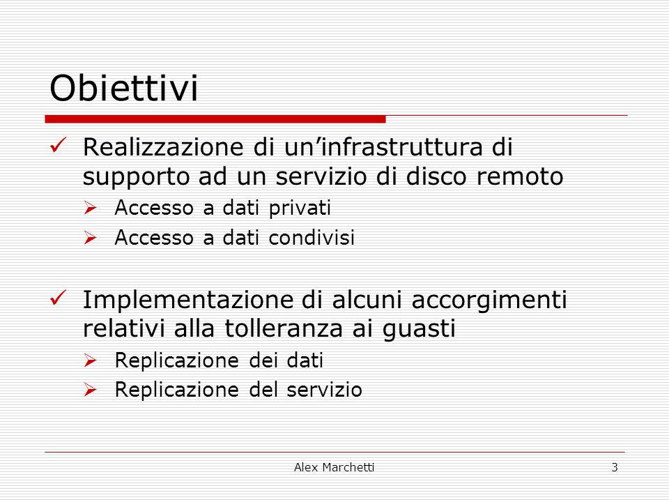 Alex Marchetti3 Obiettivi Realizzazione di un'infrastruttura di supporto ad un servizio di disco remoto  Accesso a dati privati  Accesso a dati cond