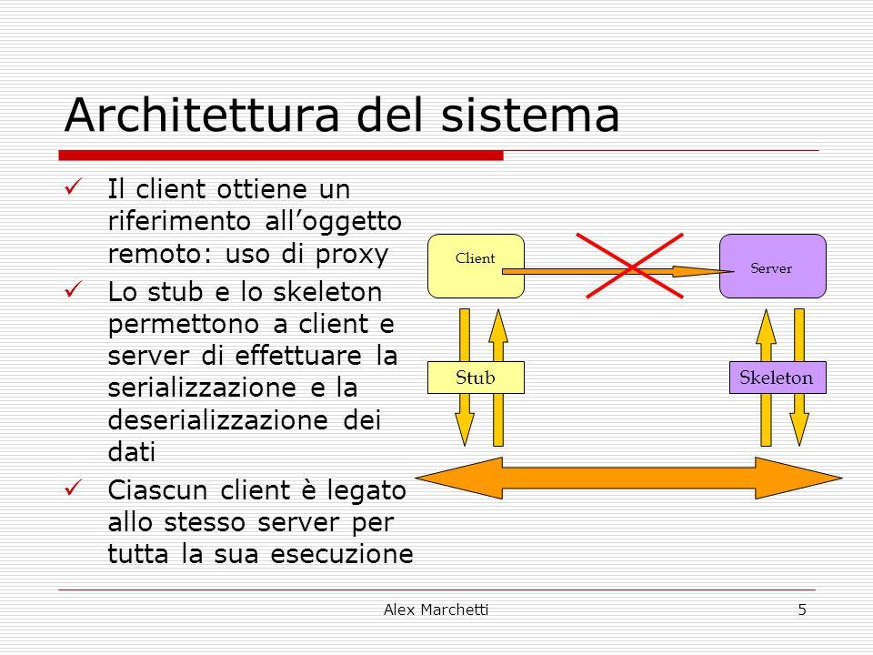 Alex Marchetti5 Architettura del sistema Il client ottiene un riferimento all'oggetto remoto: uso di proxy Lo stub e lo skeleton permettono a client e
