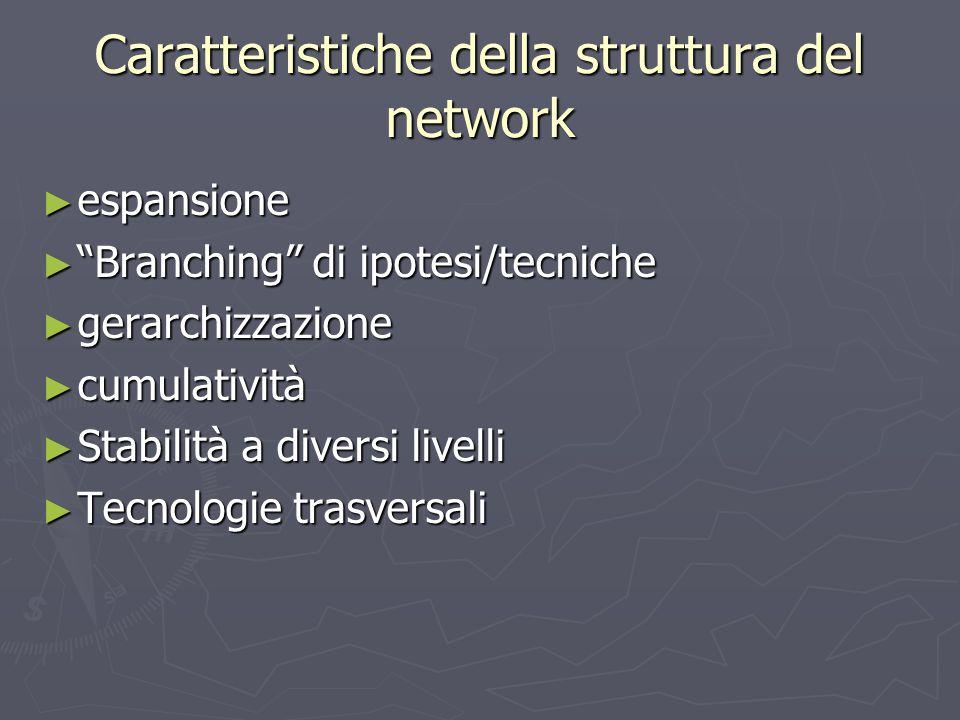 Caratteristiche della struttura del network ► espansione ► Branching di ipotesi/tecniche ► gerarchizzazione ► cumulatività ► Stabilità a diversi livelli ► Tecnologie trasversali