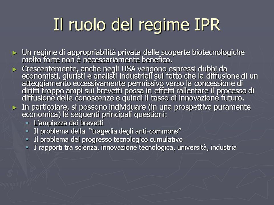 Il ruolo del regime IPR ► Un regime di appropriabilità privata delle scoperte biotecnologiche molto forte non è necessariamente benefico. ► Crescentem