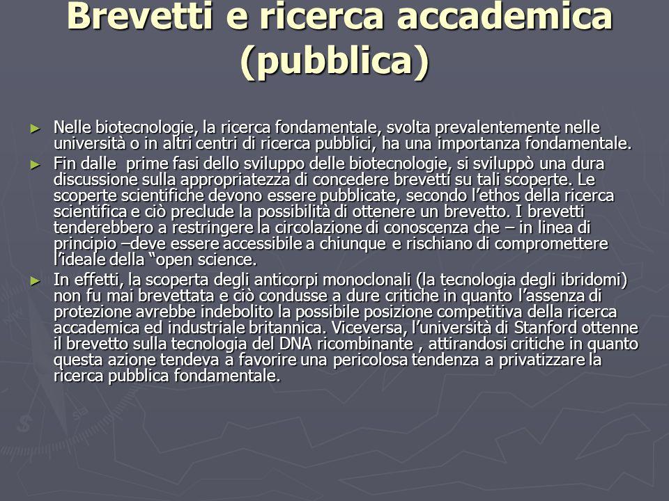 Brevetti e ricerca accademica (pubblica) Brevetti e ricerca accademica (pubblica) ► Nelle biotecnologie, la ricerca fondamentale, svolta prevalentemente nelle università o in altri centri di ricerca pubblici, ha una importanza fondamentale.