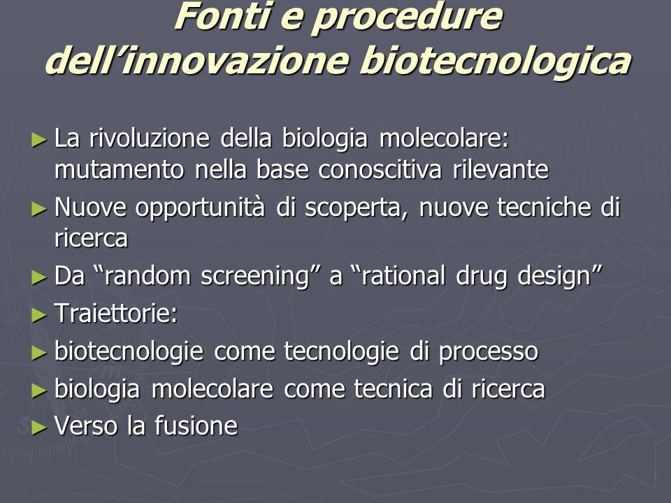 Fonti e procedure dell'innovazione biotecnologica ► La rivoluzione della biologia molecolare: mutamento nella base conoscitiva rilevante ► Nuove oppor