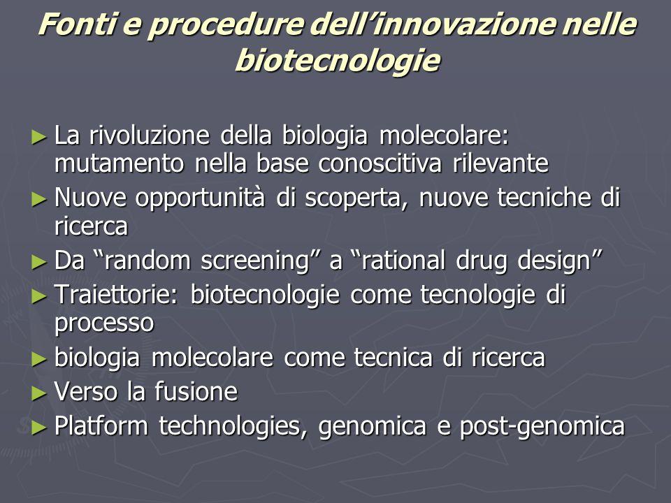 Fonti e procedure dell'innovazione nelle biotecnologie ► La rivoluzione della biologia molecolare: mutamento nella base conoscitiva rilevante ► Nuove