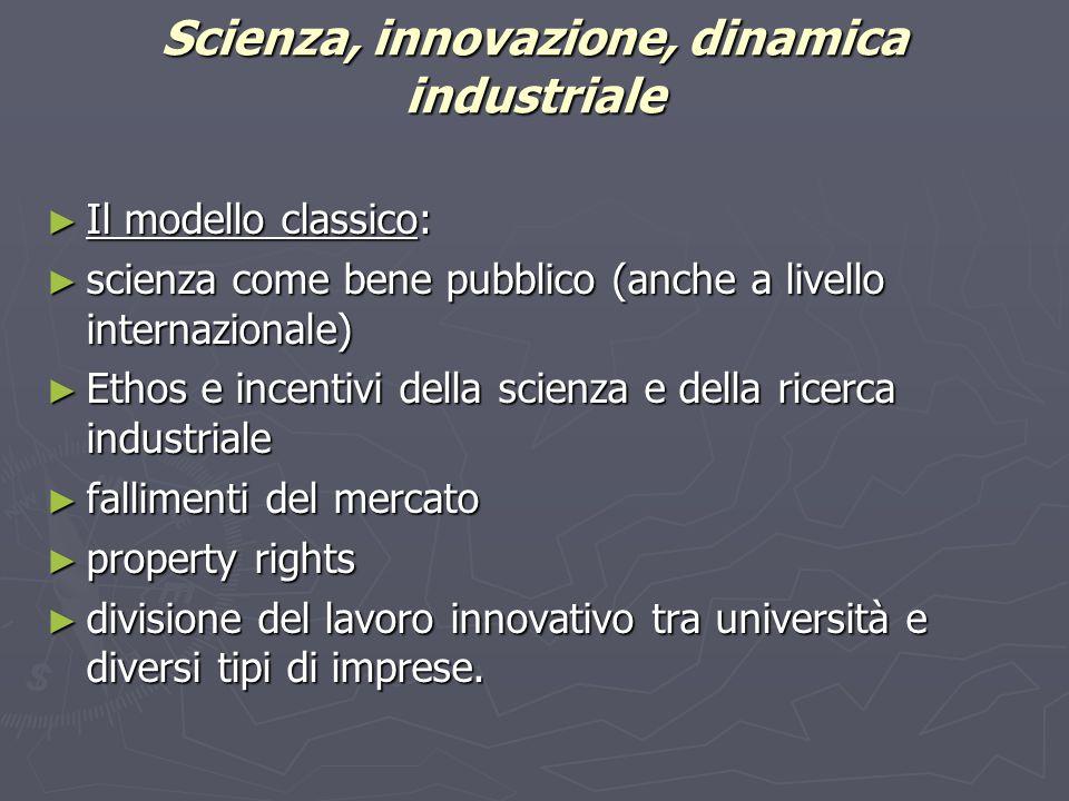 Scienza, innovazione, dinamica industriale ► Il modello classico: ► scienza come bene pubblico (anche a livello internazionale) ► Ethos e incentivi de