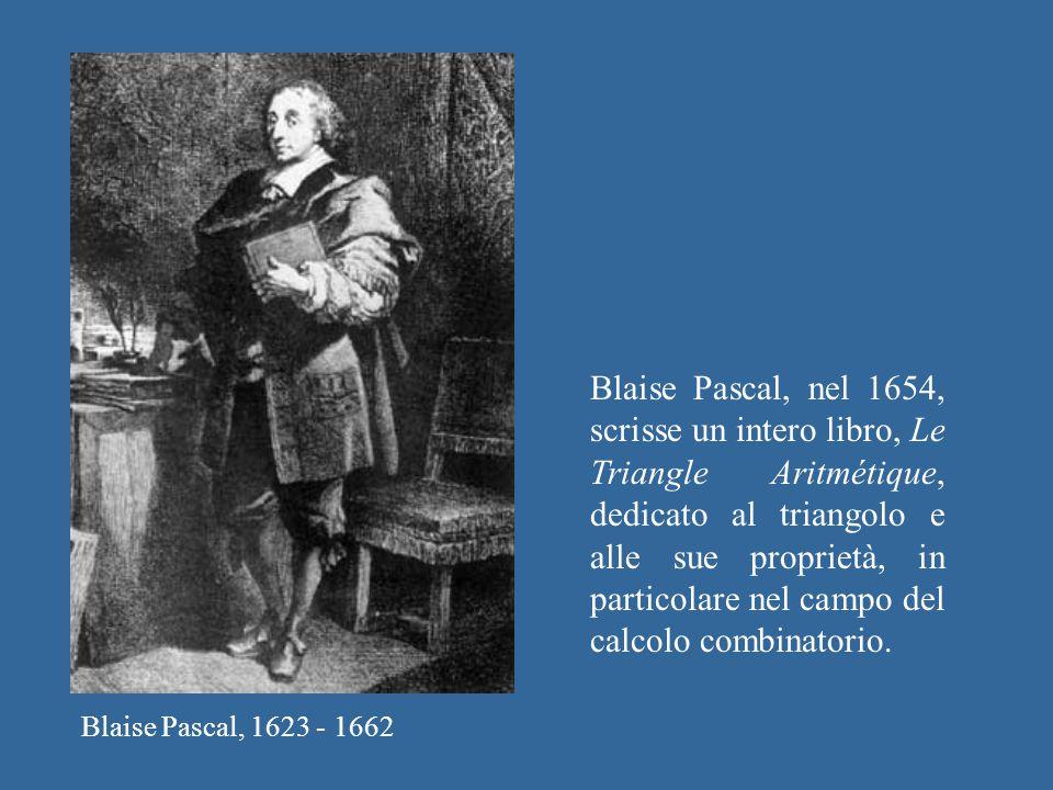 Blaise Pascal, 1623 - 1662 Blaise Pascal, nel 1654, scrisse un intero libro, Le Triangle Aritmétique, dedicato al triangolo e alle sue proprietà, in p