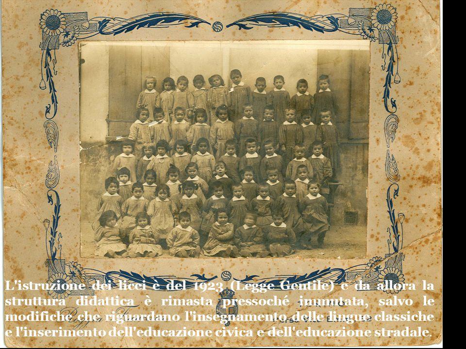 L'istruzione dei licei è del 1923 (Legge Gentile) e da allora la struttura didattica è rimasta pressoché immutata, salvo le modifiche che riguardano l
