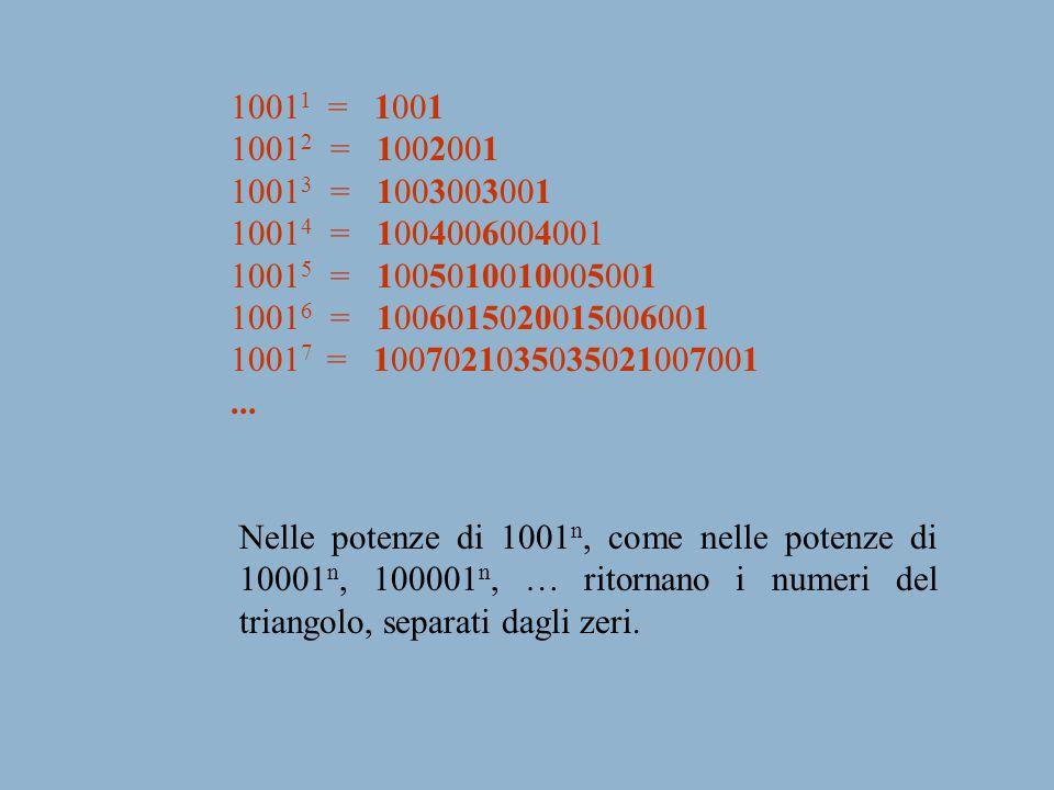 1001 1 = 1001 1001 2 = 1002001 1001 3 = 1003003001 1001 4 = 1004006004001 1001 5 = 1005010010005001 1001 6 = 1006015020015006001 1001 7 = 100702103503