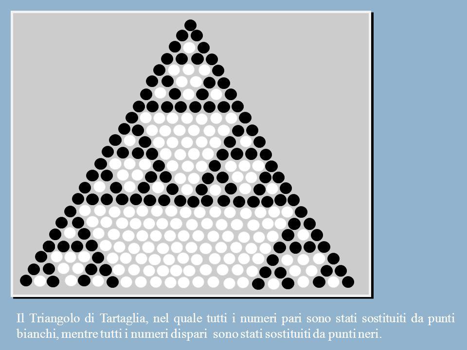 Il Triangolo di Tartaglia, nel quale tutti i numeri pari sono stati sostituiti da punti bianchi, mentre tutti i numeri dispari sono stati sostituiti d