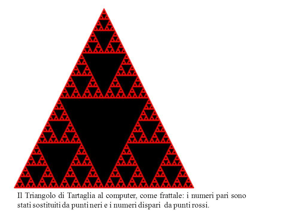 Il Triangolo di Tartaglia al computer, come frattale: i numeri pari sono stati sostituiti da punti neri e i numeri dispari da punti rossi.