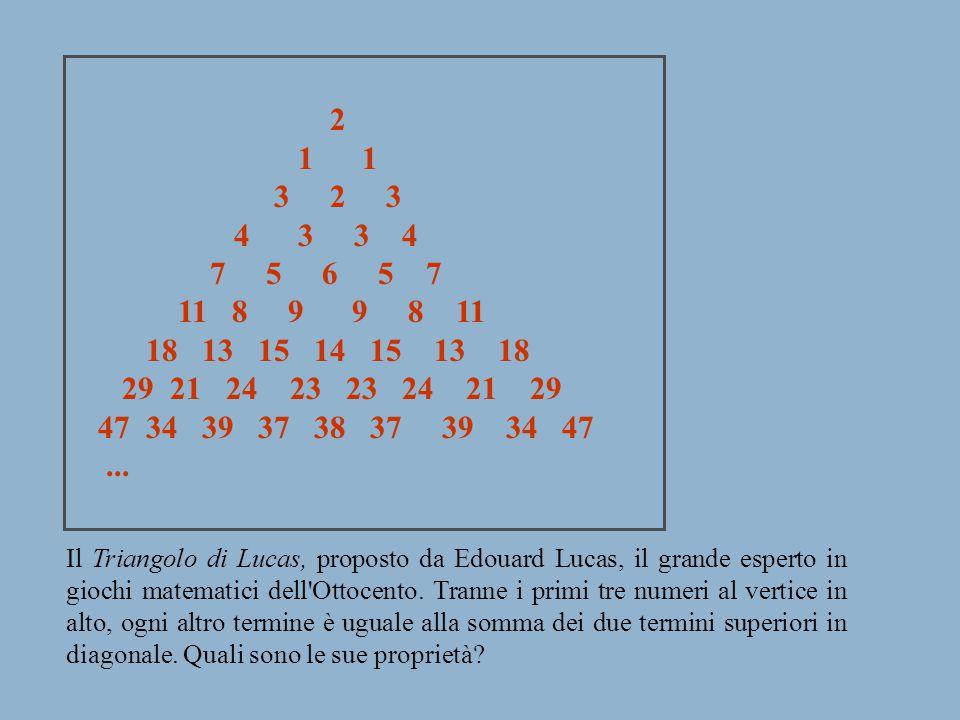 2 1 1 3 2 3 4 3 3 4 7 5 6 5 7 11 8 9 9 8 11 18 13 15 14 15 13 18 29 21 24 23 23 24 21 29 47 34 39 37 38 37 39 34 47... Il Triangolo di Lucas, proposto