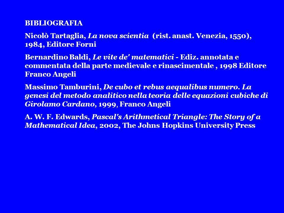 BIBLIOGRAFIA Nicolò Tartaglia, La nova scientia (rist. anast. Venezia, 1550), 1984, Editore Forni Bernardino Baldi, Le vite de' matematici - Ediz. ann