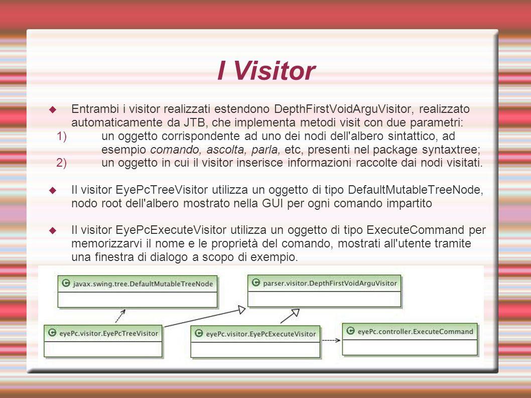 I Visitor  Entrambi i visitor realizzati estendono DepthFirstVoidArguVisitor, realizzato automaticamente da JTB, che implementa metodi visit con due parametri: 1)un oggetto corrispondente ad uno dei nodi dell albero sintattico, ad esempio comando, ascolta, parla, etc, presenti nel package syntaxtree; 2)un oggetto in cui il visitor inserisce informazioni raccolte dai nodi visitati.