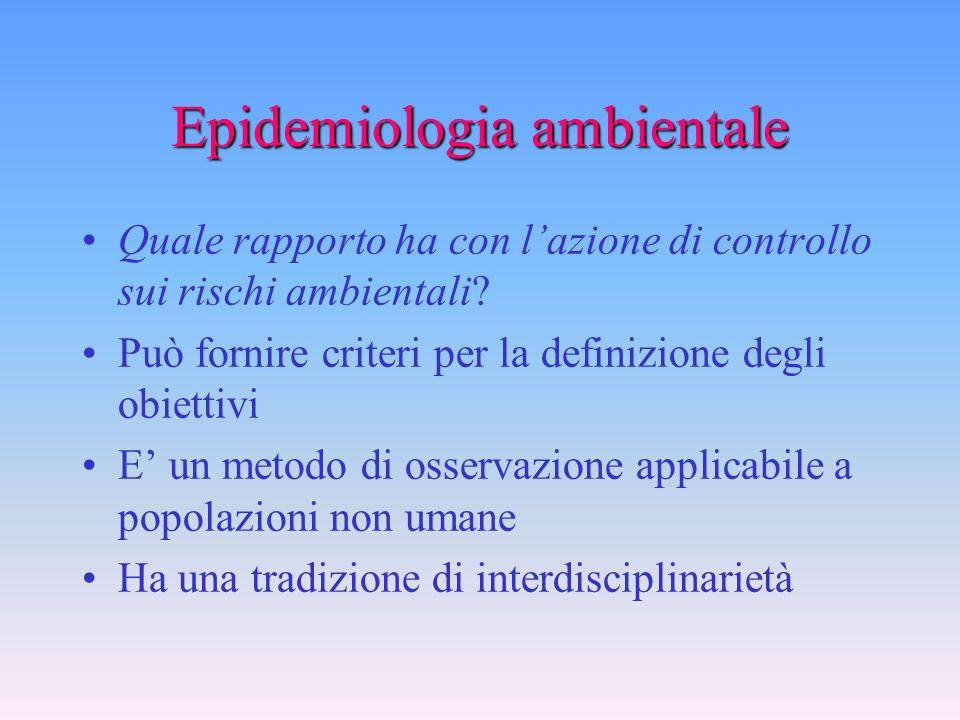 """Epidemiologia ambientale E' una disciplina a se stante? Si delinea una tendenza a tematiche peculiari, come la """"valutazione del rischio"""", ed a rivalut"""