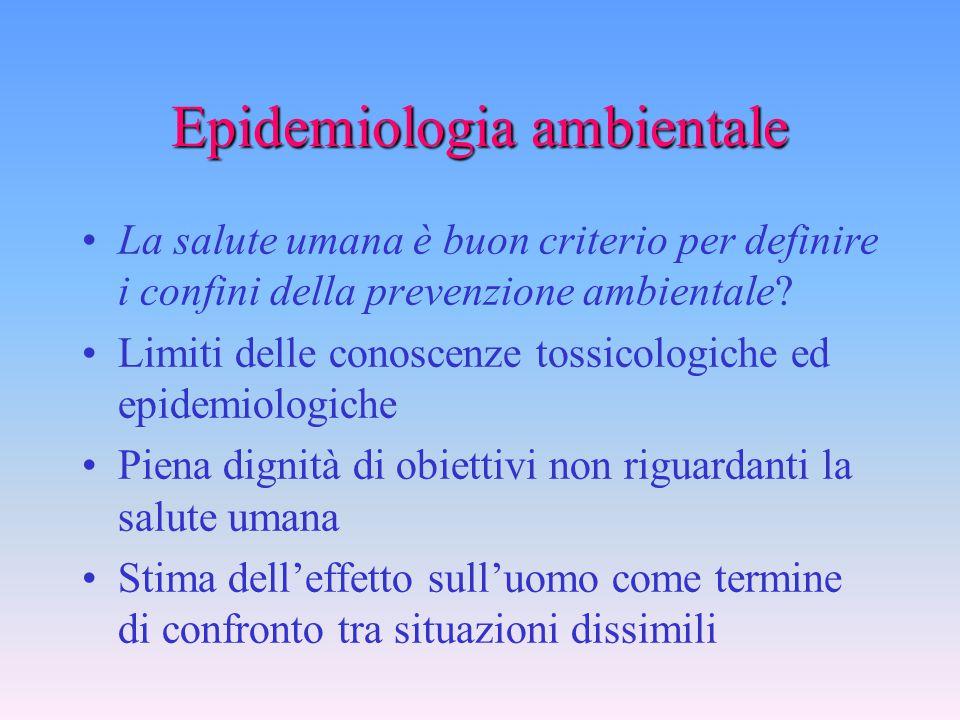 Epidemiologia ambientale Quale rapporto ha con l'azione di controllo sui rischi ambientali? Può fornire criteri per la definizione degli obiettivi E'