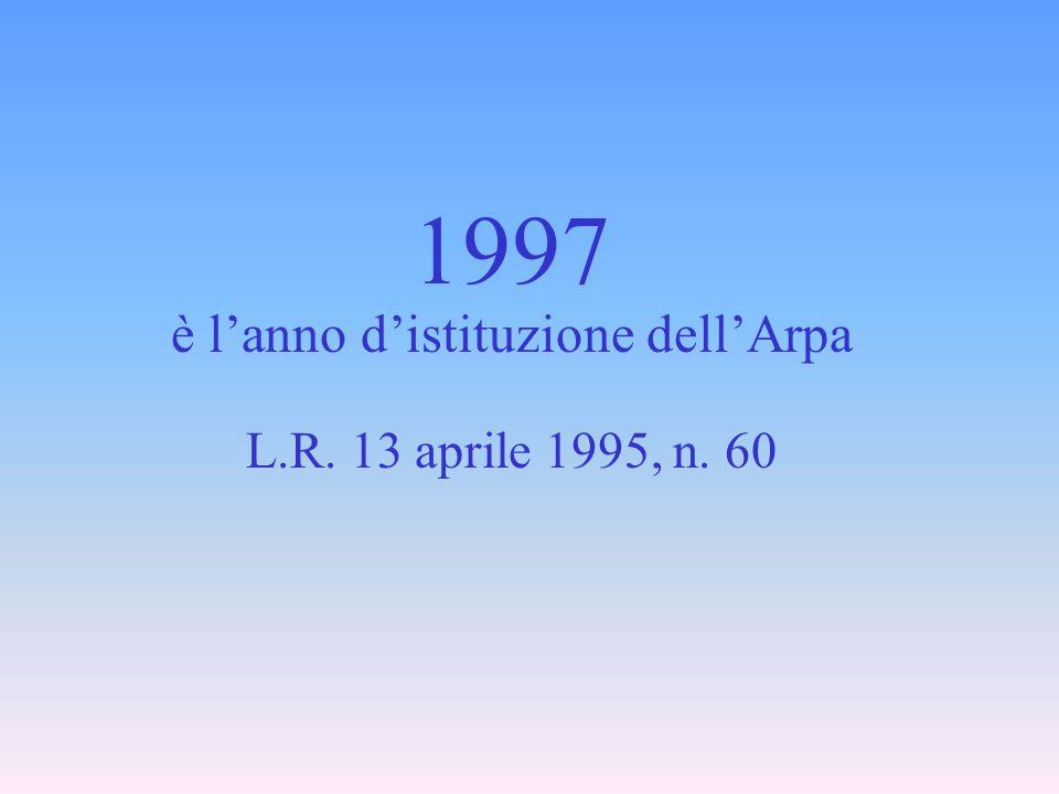 1997 è l'anno d'istituzione dell'Arpa L.R. 13 aprile 1995, n. 60