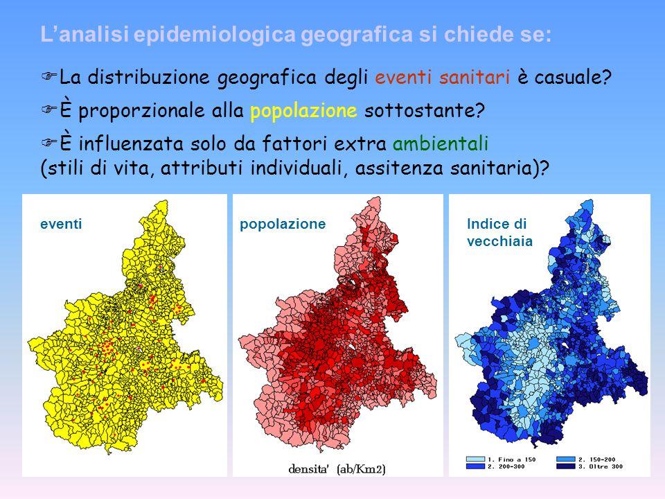 Gli studi descrittivi epidemiologici in campo ambientale richiedono analisi di tipo geografico per rappresentare il profilo sanitario in aree giudicat