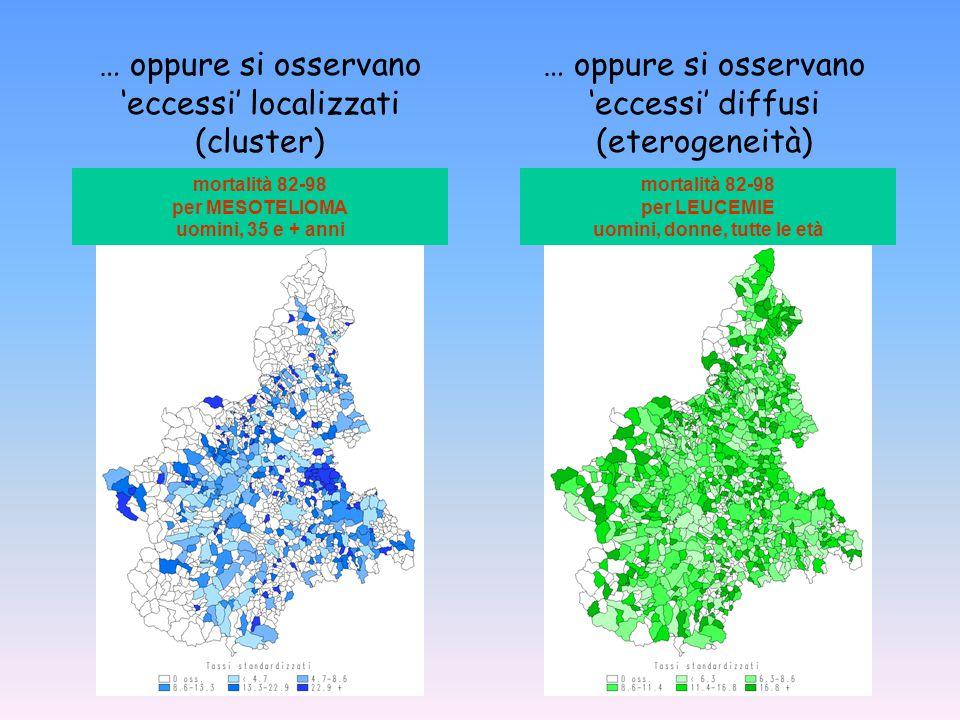   La distribuzione geografica degli eventi sanitari è casuale? L'analisi epidemiologica geografica si chiede se:   È proporzionale alla popolazion