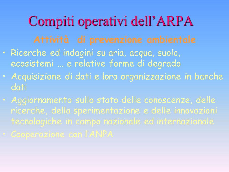 Compiti operativi dell'ARPA Compiti operativi dell'ARPA Attività di controllo ambientale Sopralluoghi, ispezioni, prelievi, campionamenti, misure Anal