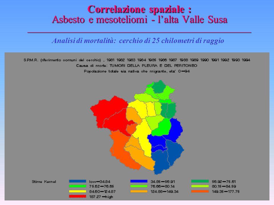 Correlazione spaziale : Asbesto e mesoteliomi - l'alta Valle Susa _________________________________________________ Ipotetiche circostanze di esposizi