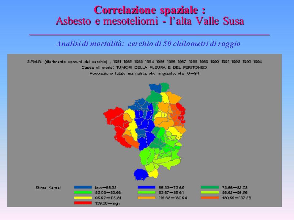 Correlazione spaziale : Asbesto e mesoteliomi - l'alta Valle Susa _________________________________________________ Analisi di mortalità: cerchio di 2