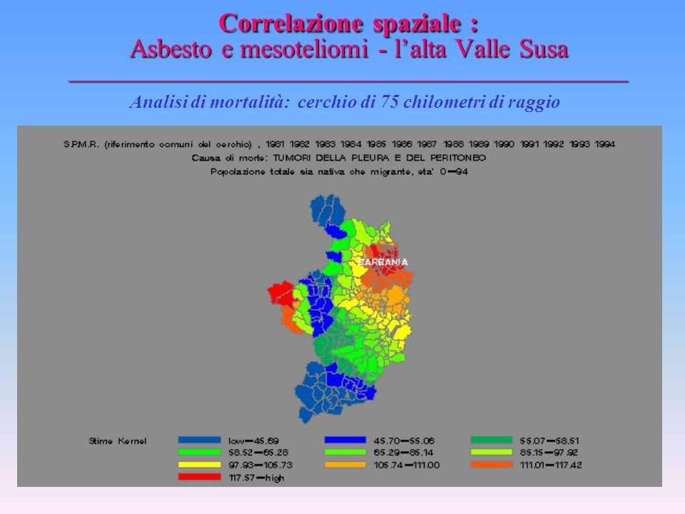 Correlazione spaziale : Asbesto e mesoteliomi - l'alta Valle Susa _________________________________________________ Analisi di mortalità: cerchio di 5