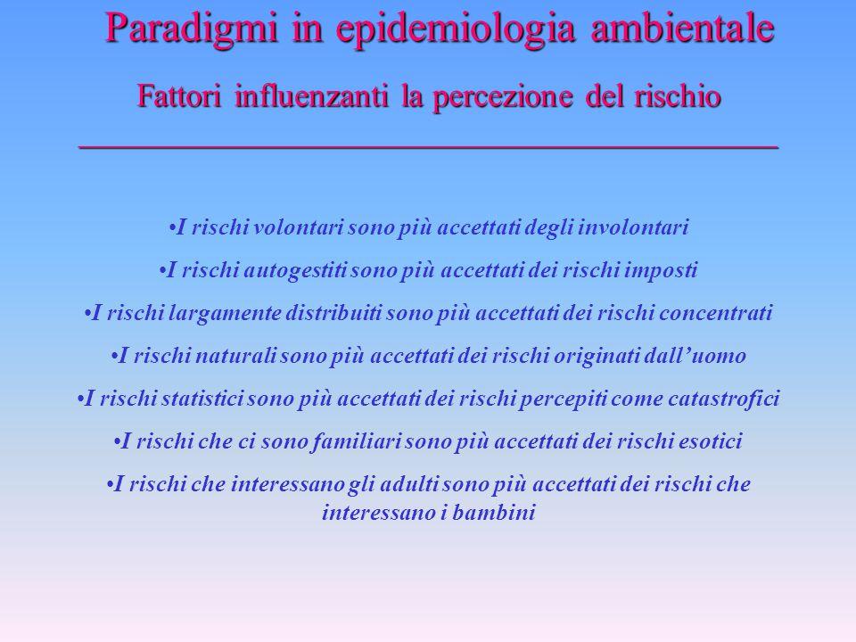 La percezione del rischio _________________________________________________ Paradigmi in epidemiologia ambientale