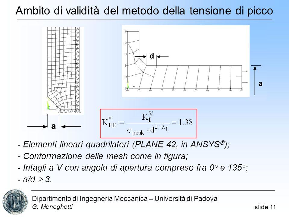 slide 11 Dipartimento di Ingegneria Meccanica – Università di Padova G.