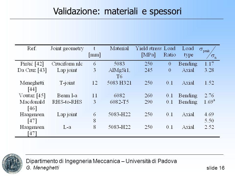 slide 16 Dipartimento di Ingegneria Meccanica – Università di Padova G.